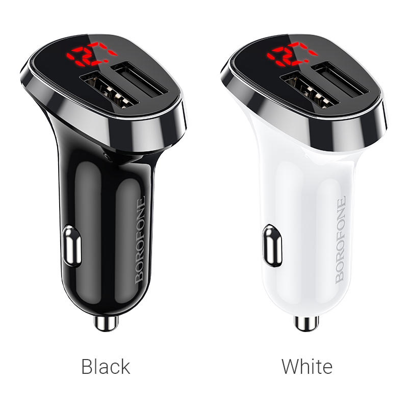 borofone bz15 auspicious dual port digital display car charger colors