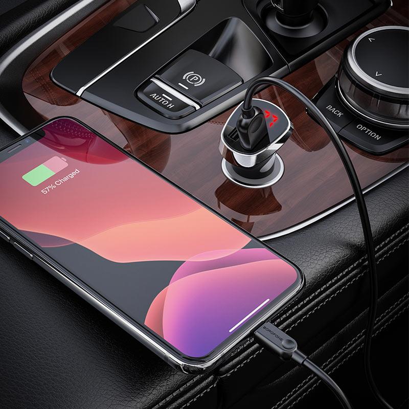 borofone bz15 auspicious dual port digital display car charger lightning set charging