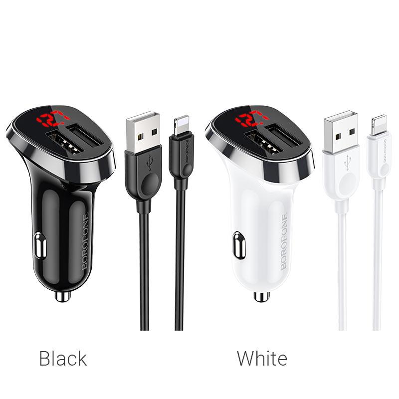 borofone bz15 auspicious dual port digital display car charger lightning set colors