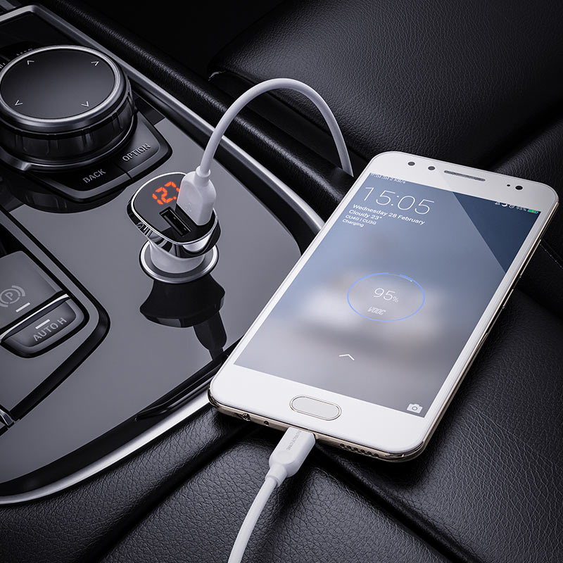 borofone bz15 auspicious dual port digital display car charger micro usb set charging