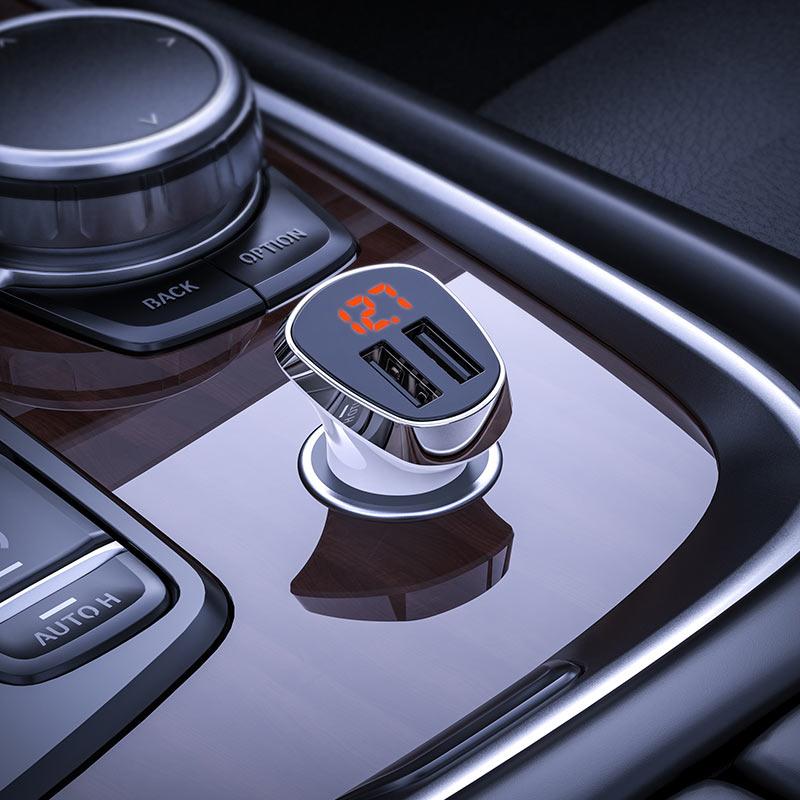 borofone bz15 auspicious dual port digital display car charger overview