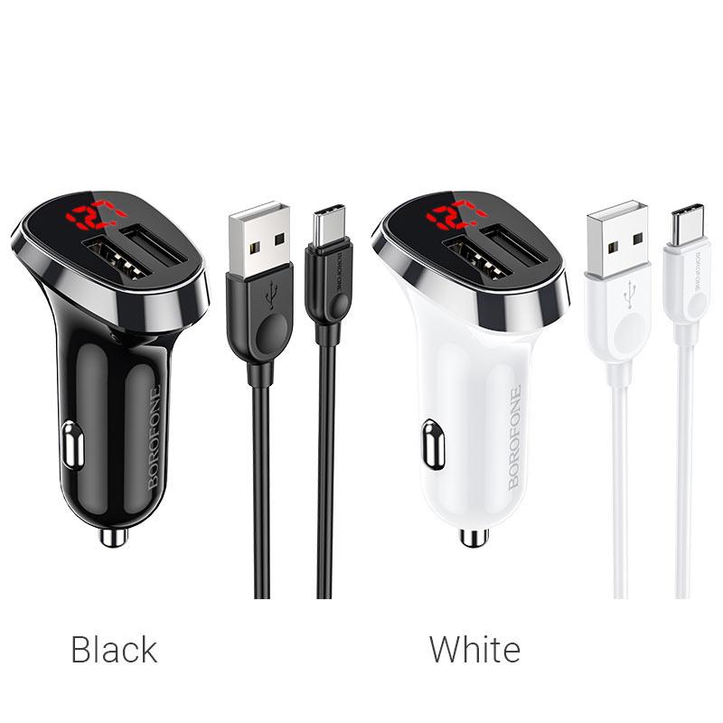 borofone bz15 auspicious dual port digital display car charger usb c set colors