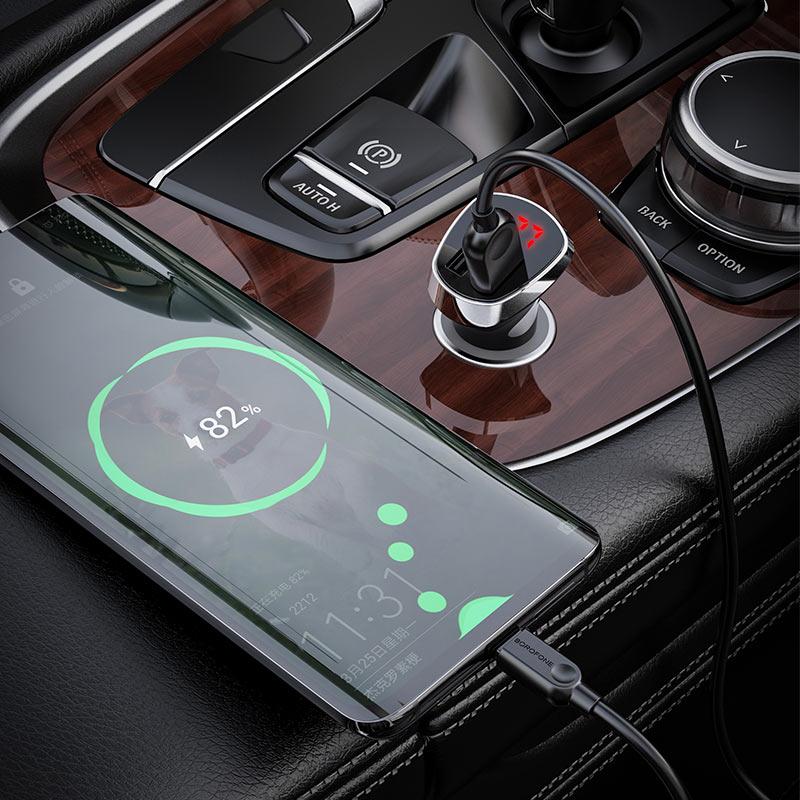 borofone bz15 auspicious dual port digital display car charger usb c set interior