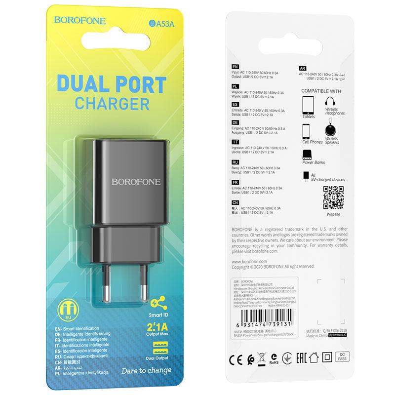 borofone ba53a powerway зарядное устройство с двумя портами eu упаковка черный