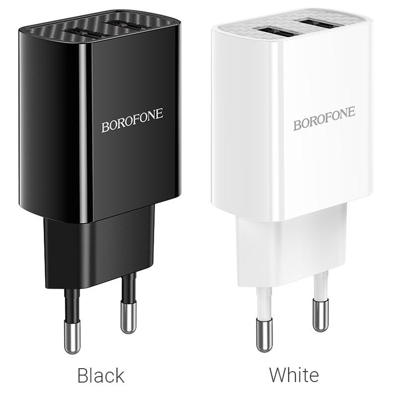 borofone ba53a powerway зарядное устройство с двумя портами eu цвета