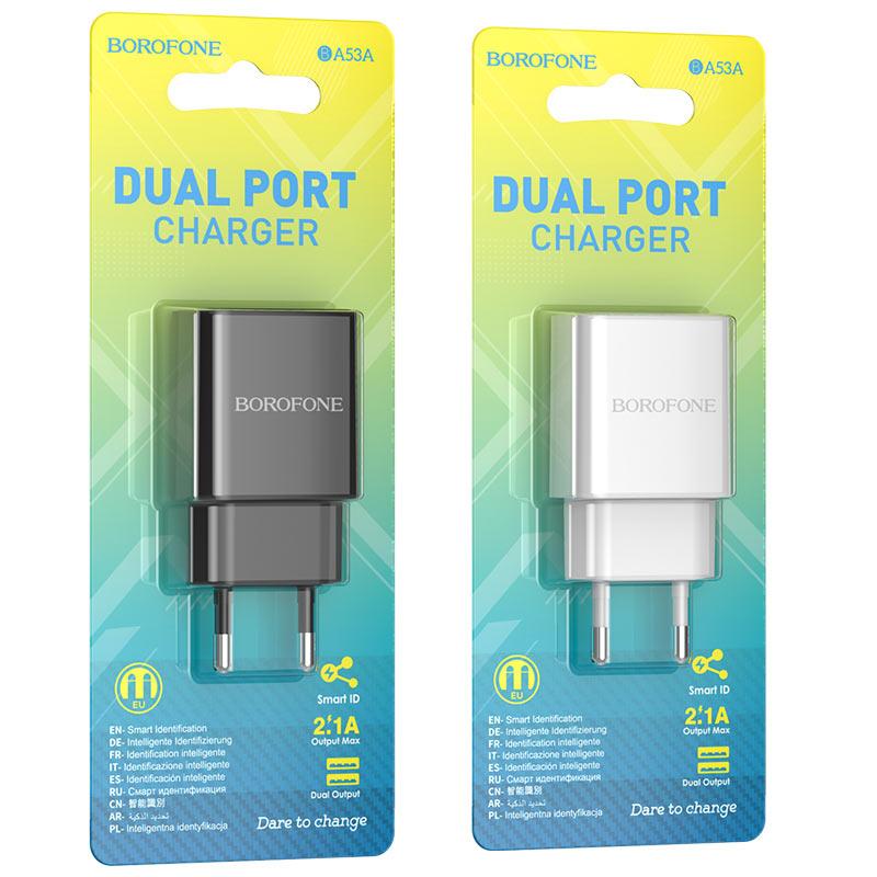 borofone ba53a powerway зарядное устройство с двумя портами eu упаковки