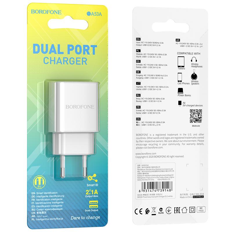 borofone ba53a powerway зарядное устройство с двумя портами eu упаковка белый