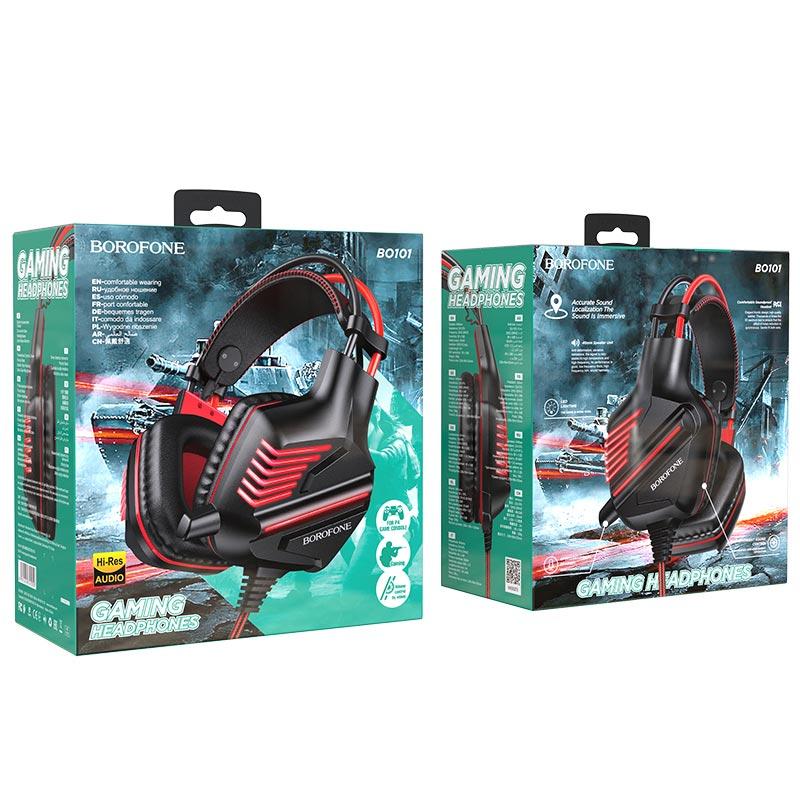 borofone bo101 racing gaming headphones package red
