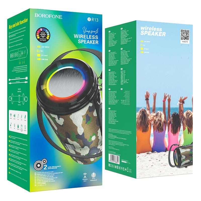 borofone br13 young спортивная bt колонка упаковка зеленый камуфляж