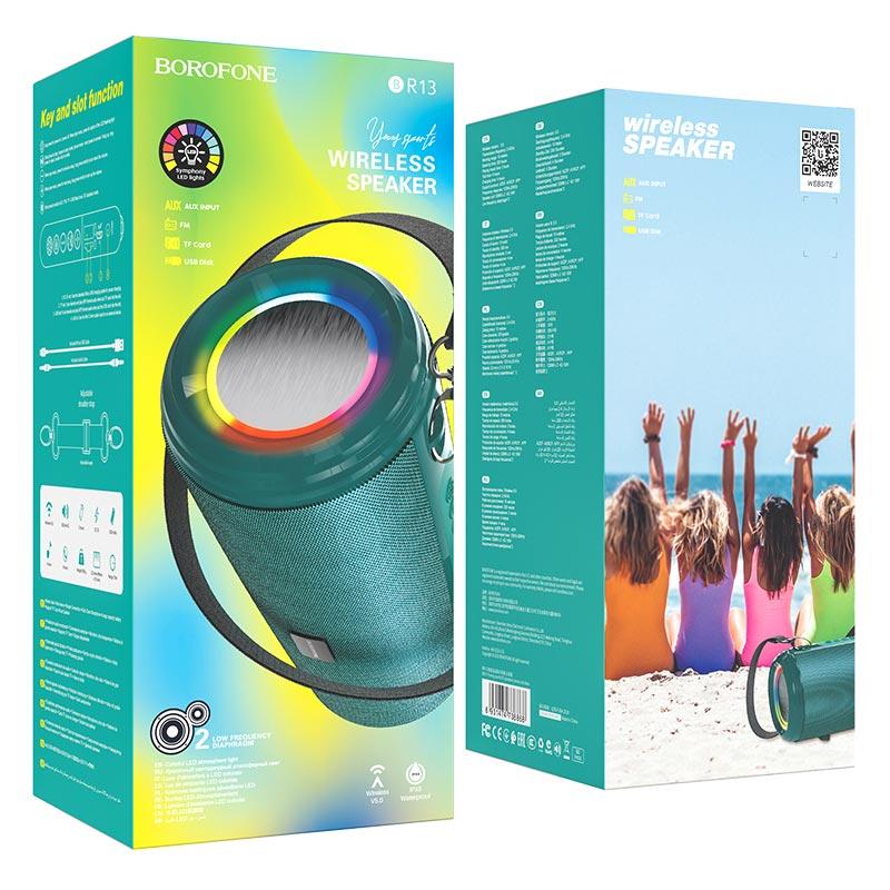 borofone br13 young спортивная bt колонка упаковка синий павлин