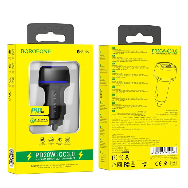borofone bz14a mercury dual port pd20w qc3 ambient light car charger package black