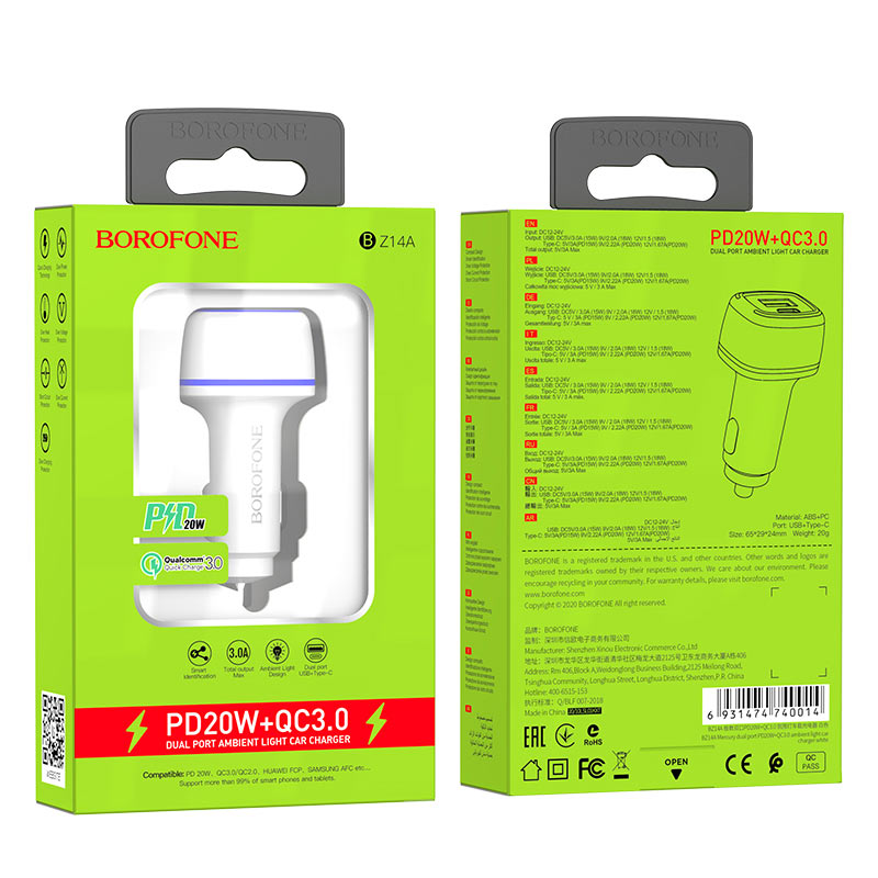 borofone bz14a mercury dual port pd20w qc3 ambient light car charger package white