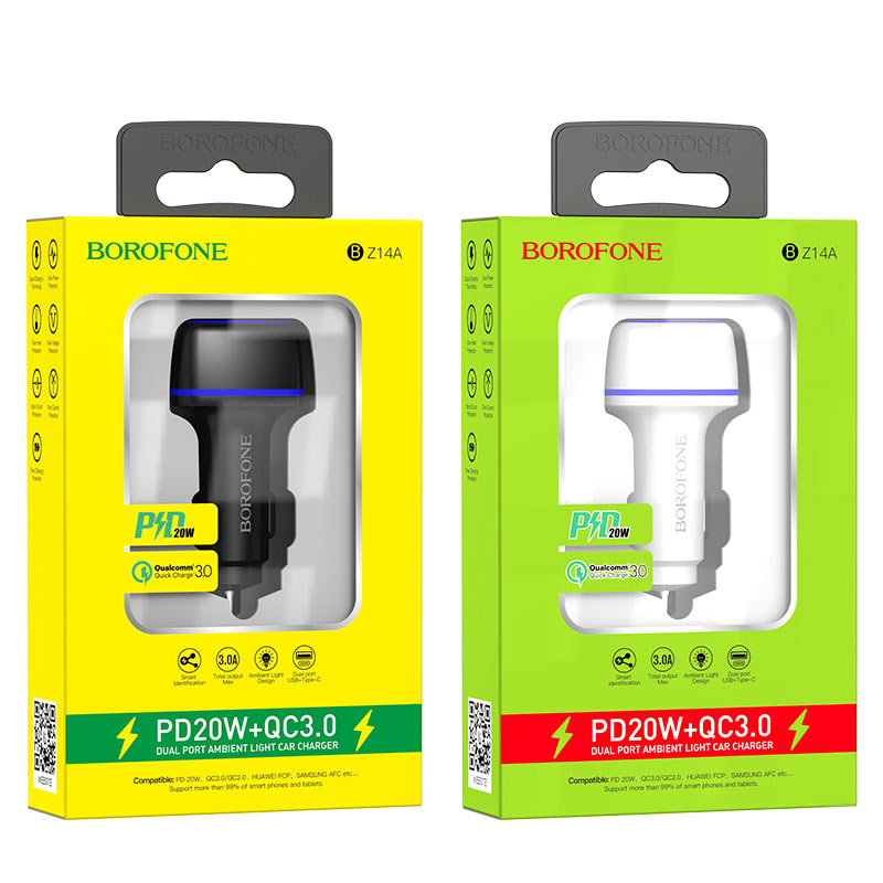 borofone bz14a mercury dual port pd20w qc3 ambient light car charger packages