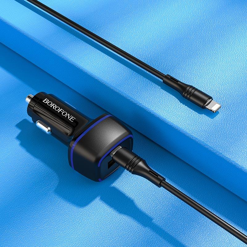 borofone bz14a mercury dual port pd20w qc3 ambient light car charger usb c to lightning set interior