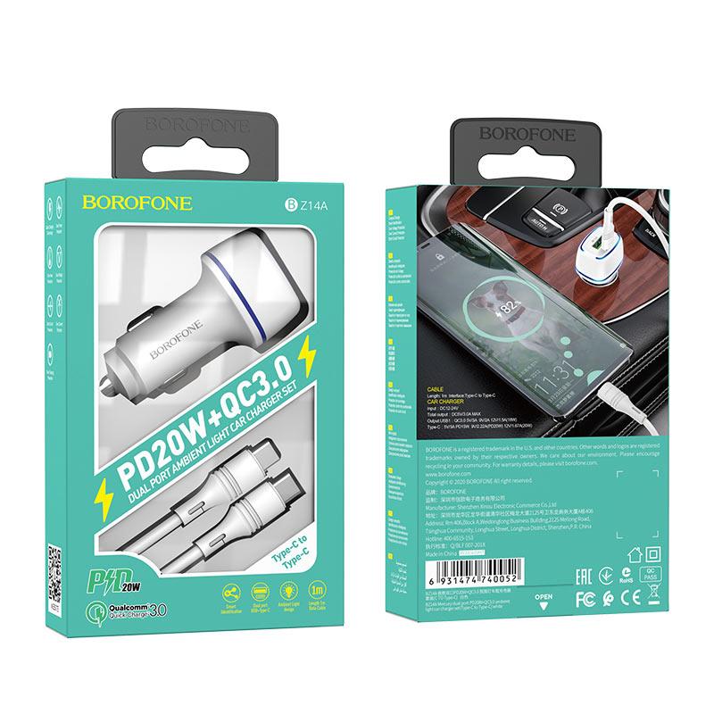 borofone bz14a mercury dual port pd20w qc3 ambient light car charger usb c to usb c set package white