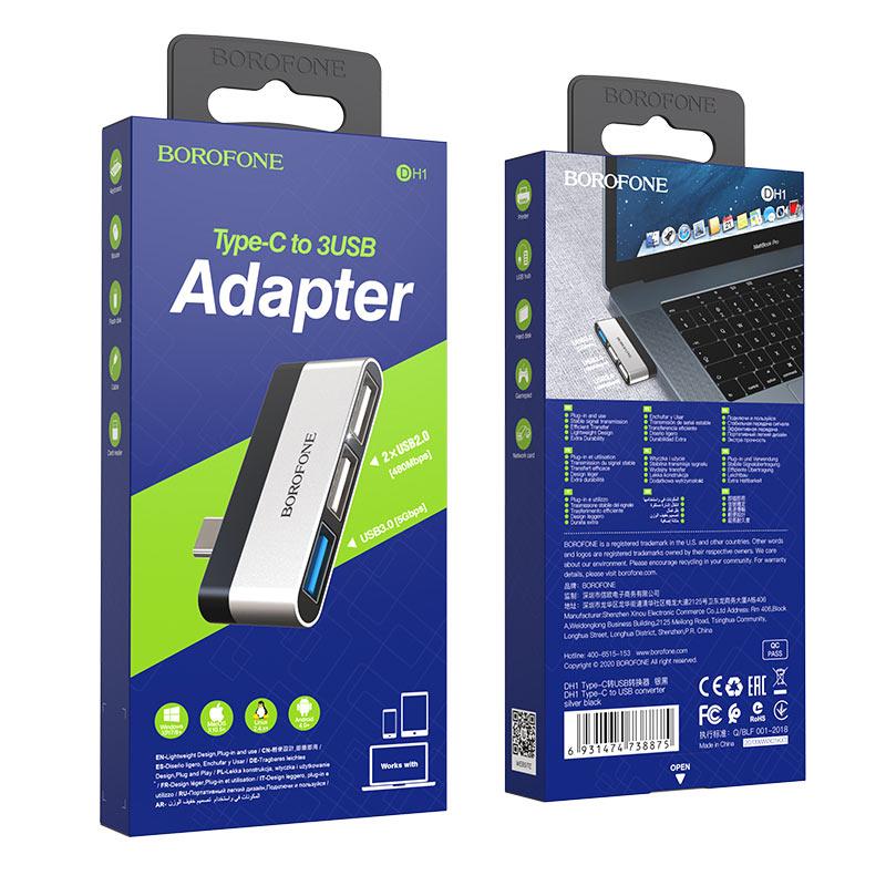 borofone dh1 usb c на usb адаптер упаковка
