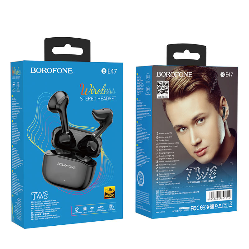 borofone be47 perfecto tws wireless bt headset package black