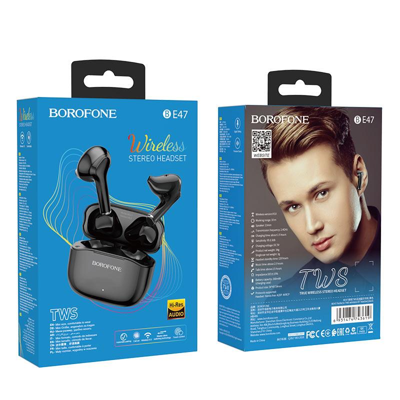 borofone be47 perfecto tws wireless bt headset package black