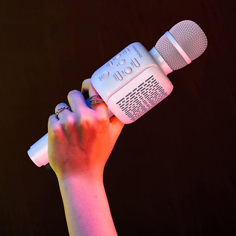 borofone bf1 rhyme karaoke microphone in hand