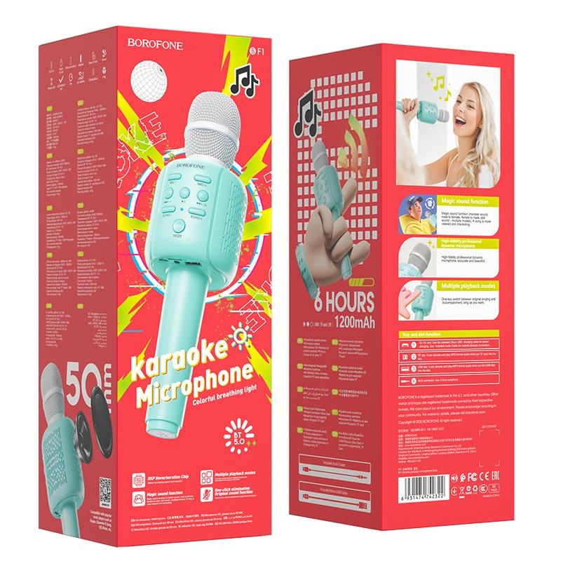 borofone bf1 rhyme karaoke microphone package blue