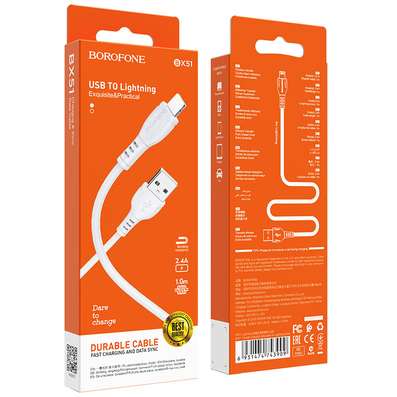 borofone bx51 triumph charging data cable for lightning package white
