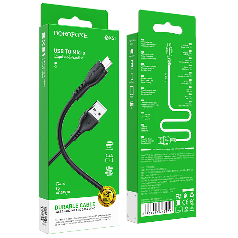 borofone bx51 triumph charging data cable for micro usb package black